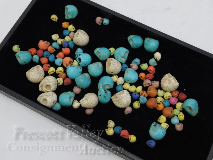 Lot of Dyed and Cut Magnesite Skull Beads For Jewelry Making