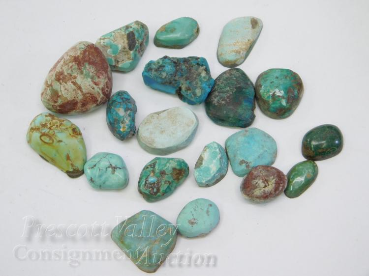 164.7 Carat Lot of Polished and Some Backed Turquoise Cabochons For Jewelry Making