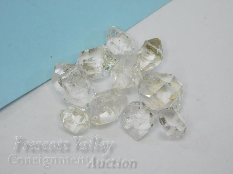 47.6 Carat Lot of 10 Large Naturaly Faceted Herkimer Diamonds For Jewelry Making