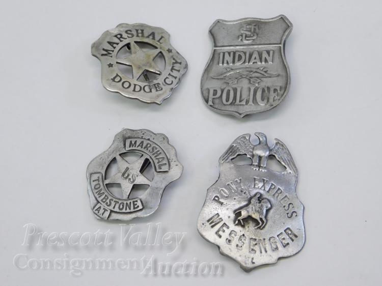 Lot of 4 Old West Style Pony Express Messenger Indian Police Dodge City Tombstone Badges