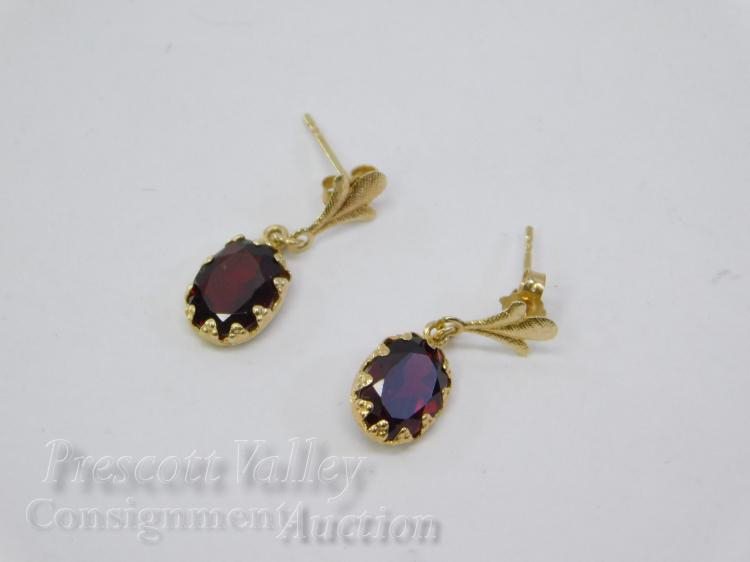 1.1 Gram 14K Yellow Gold and Garnet Post Dangle Earrings