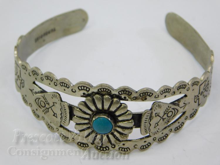 Fred Harvey Era Navajo Nickel Silver and Turquoise Hand Stamped Cuff Bracelet