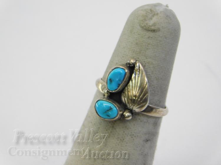 Navajo Sterling Silver and Turquoise Ring Signed Robert Becenti Sz 5.75