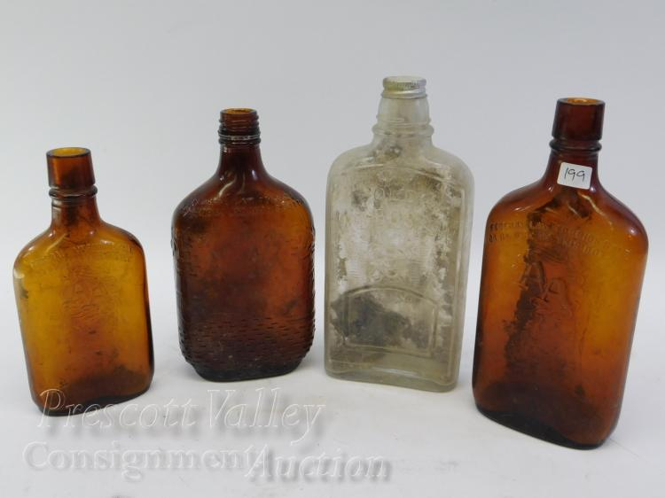 Lot of 4 Vintage Dug Ancient Age Old Mr Boston Whiskey Bottles