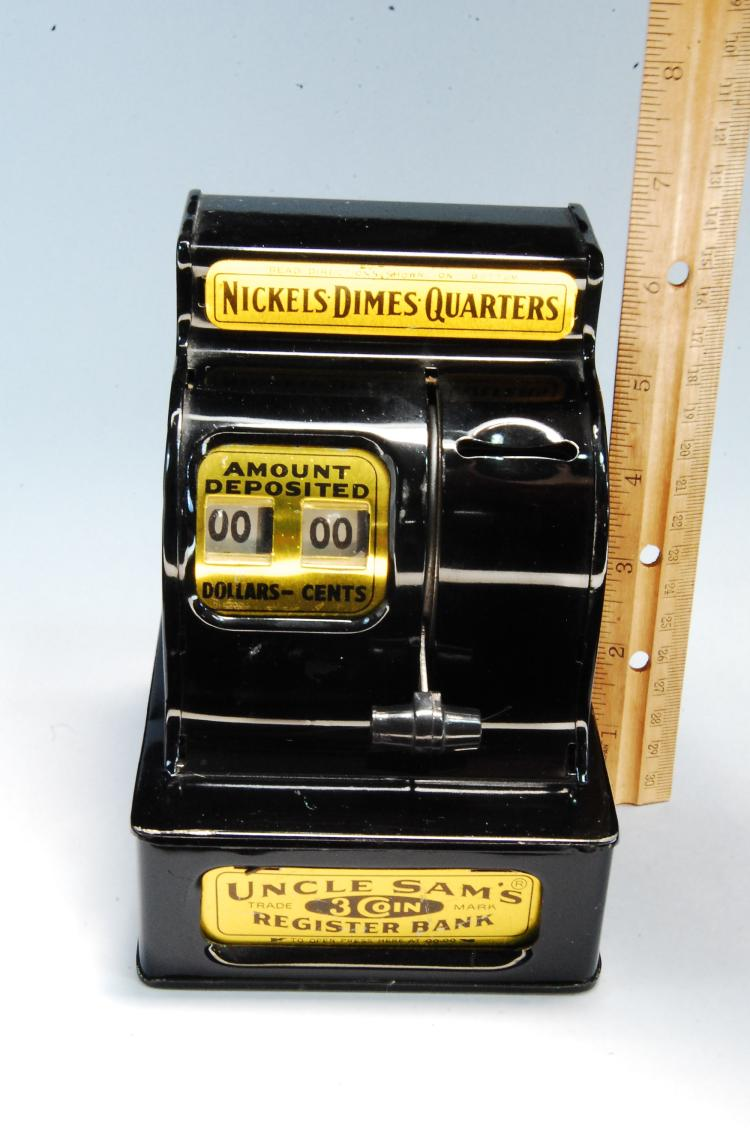 Lot 7: Vintage Uncle Sams 3 Coin Register Bank
