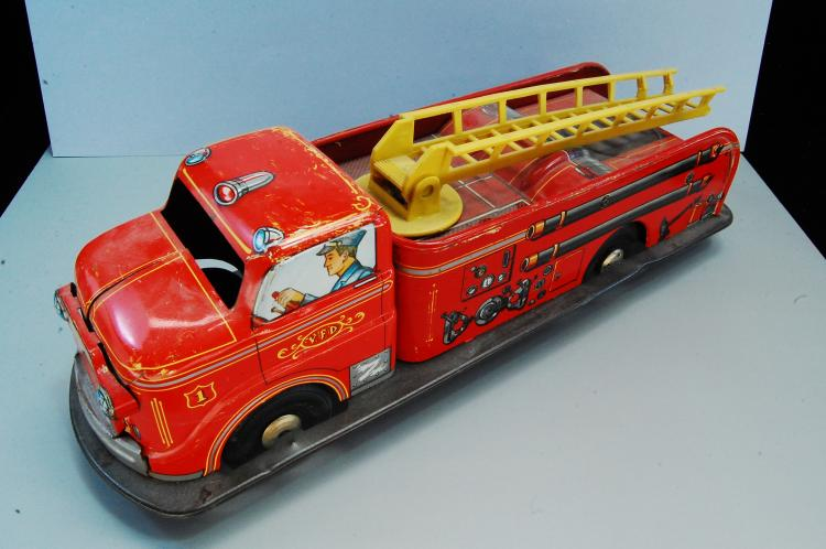 1950s Marx Tin Litho Friction Fire Truck