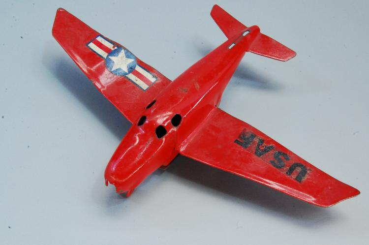 Lot 87: Vintage Friction Tin Toy USAF Airplane