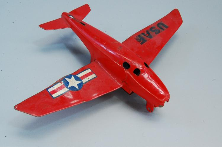 Vintage Friction Tin Toy USAF Airplane