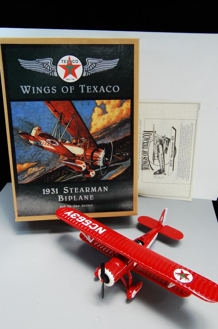 Lot 112: 1995 Ertl Wings of Texaco 1931 Stearman Biplane Ba