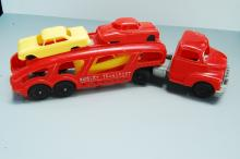 Lot 121: Vintage Hubley Kiddie Toys Transport Truck with 3