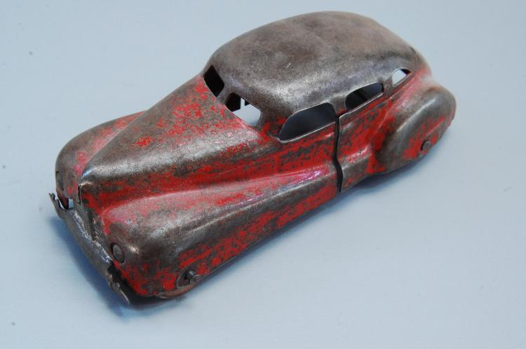Antique 1/43rd Scale Pressed Steel Toy Car with Wo