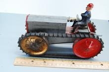 Lot 144: Antique Wind Up Tin Toy Tractor in Working Conditi