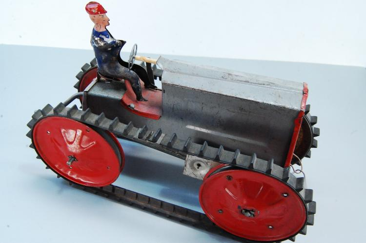 Antique Wind Up Tin Toy Tractor in Working Conditi