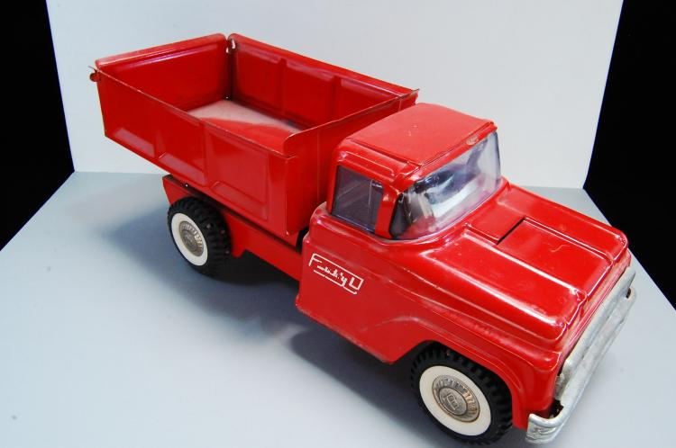 Vintage Buddy L Pressed Steel Red Dump truck