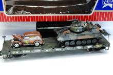 Lot 100B: USA Trains G Scale R1772 US Marine Corps Flat Train Car With Tank