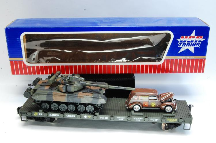 USA Trains G Scale R1772 US Marine Corps Flat Train Car With Tank