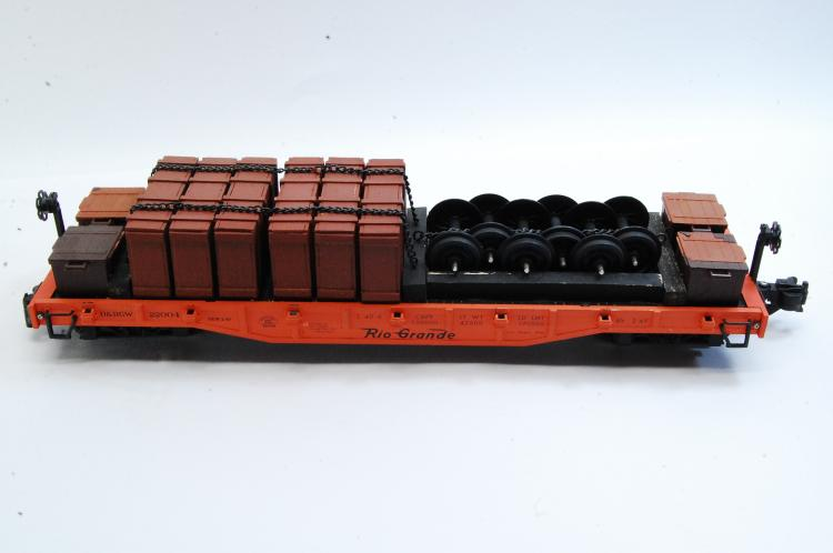 Bachmann G Scale Flat Train Car with Railroad Supplies