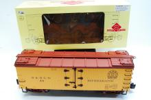 Lot 100F: Aristo Craft G Scale Wood Reefer Train Car D&RGW Graffics