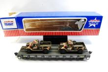 Lot 100I: USA Trains G Scale Marine Corps Truck Transport Flat Train Car