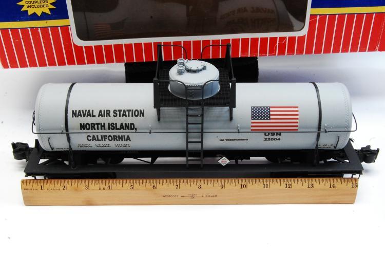 Lot 100K: USA Trains G Scale Single Dome Tank Train Car Naval Airstation Graffics