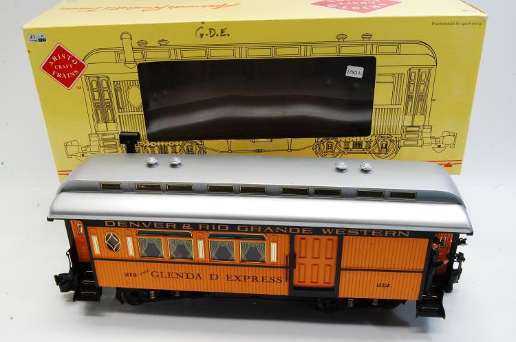 Lot 100L: Aristo Craft G Scale Wood/Sierra Style Passenger Train Car