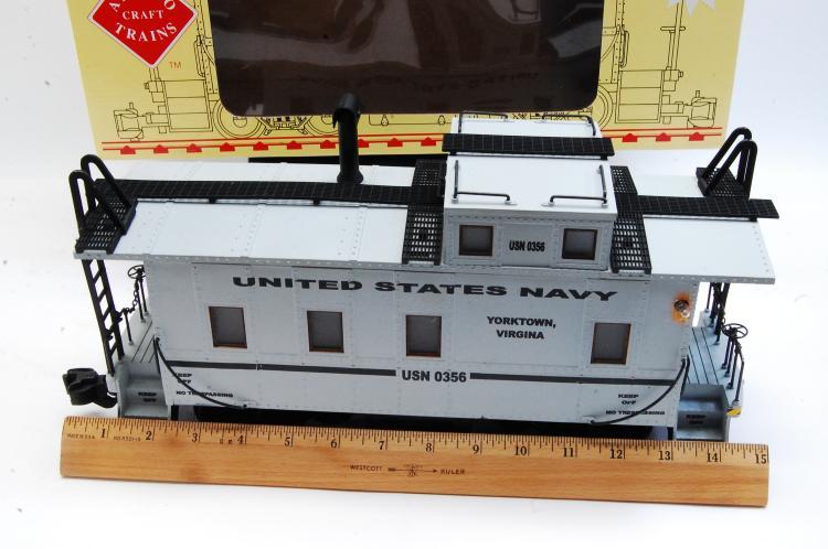 Lot 100O: Aristo Craft G Scale Steel Long Caboose US Navy Graffics