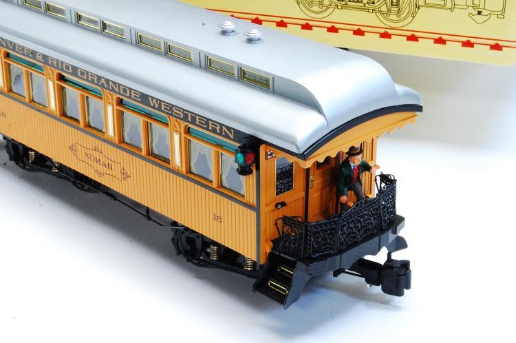 Lot 100Q: Aristo Craft G Scale Wood/Sierra Style Passenger Train Car
