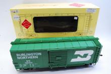 Lot 100R: Aristo Craft G Scale Burrlington Northern Steel Box Train Car