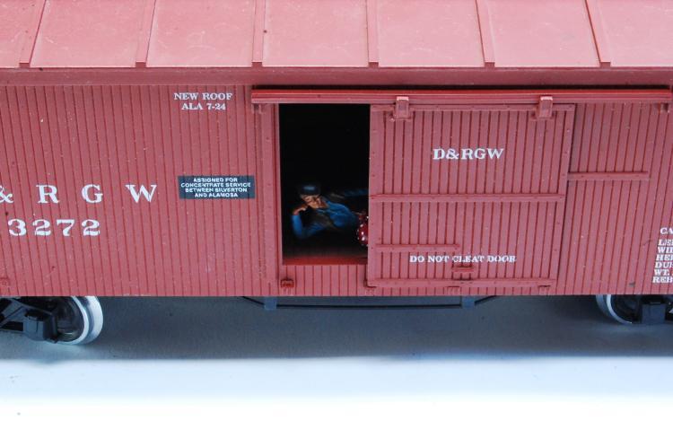 Lot 100U: Aristo Craft G Scale D&RGW Classic Wood Train Box Car