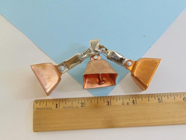 Lot 6: 3 Copper Catfish Gold Bells for Fishing