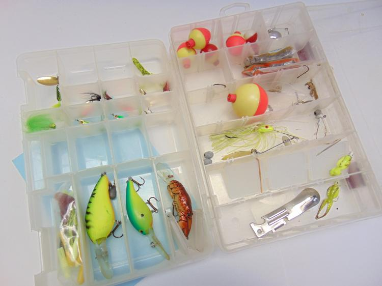 2 Plano Separated Clear Tackle Boxes, with tackle