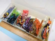 Lot 11: Plano Separated Clear Tackle Box with Plastic Worms and Crawdads