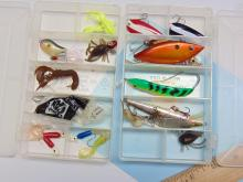 Lot 13: 2 Mini Plano Separated Clear Tackle Boxes, Jigs Spinners and Plugs
