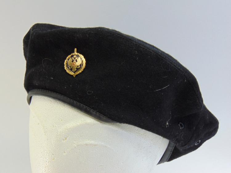 Vintage Russian Black Felt Military Beret