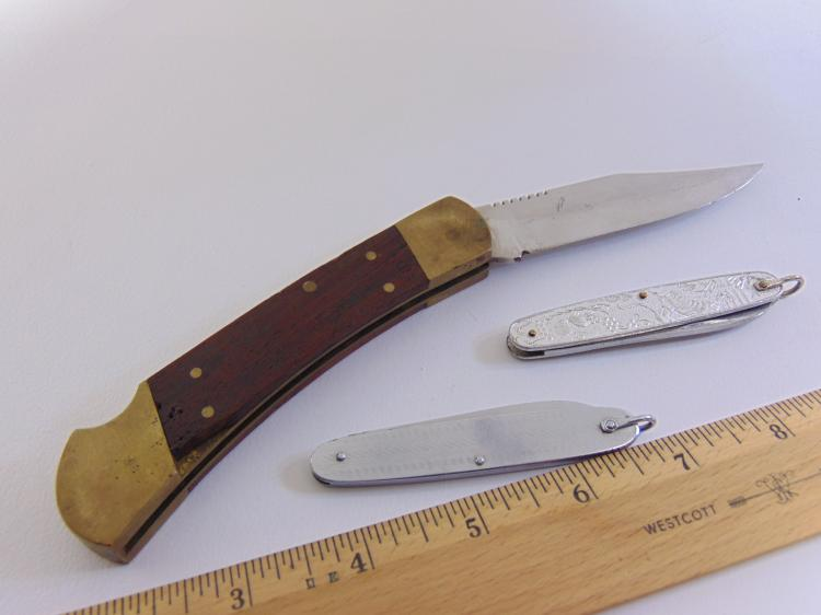 Lot 45: Lot of 3 Brass Wood & Engraved Metal Pocket Knives