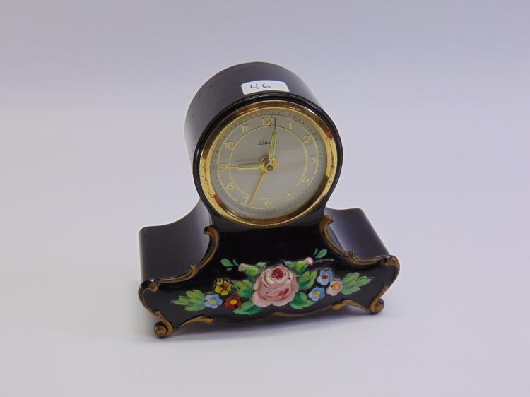 Vintage Heco German Made Hand Painted Mantle or Desk Clock & Music Box