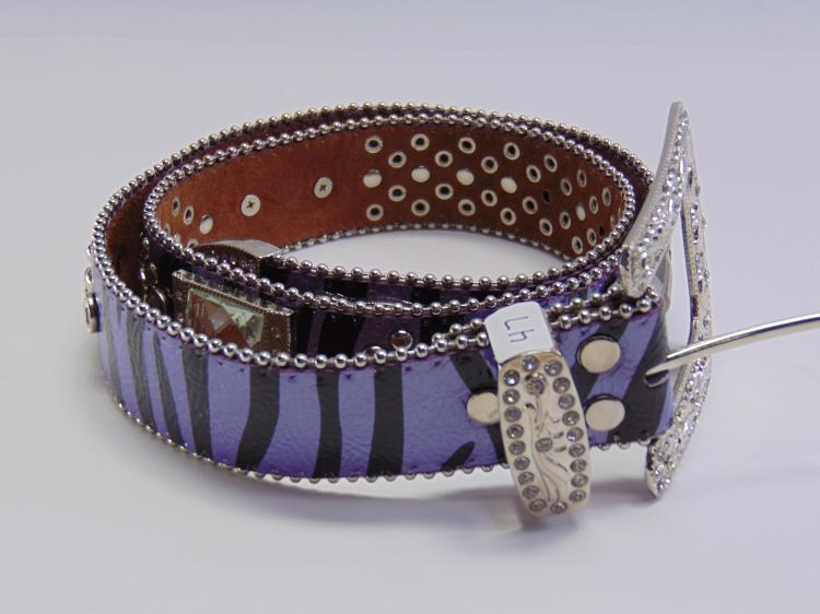 Lot 47: Montana West Genuine Leather Rhinestone and Purple Zebra Print Cowgirl Bling Belt Sz 34