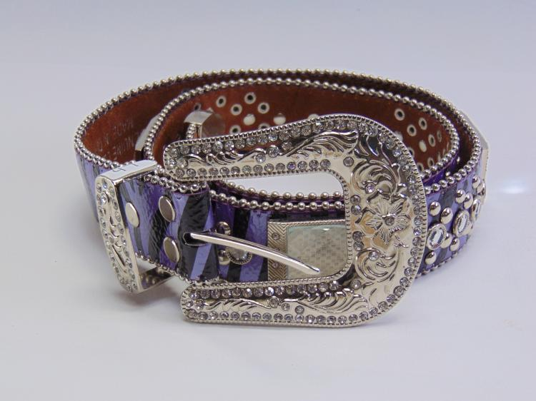 Montana West Genuine Leather Rhinestone and Purple Zebra Print Cowgirl Bling Belt Sz 34