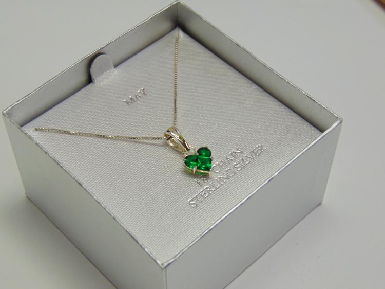 "Sterling Silver 18"" Box Chain and Emerald May Birth Stone Heart Pendant"