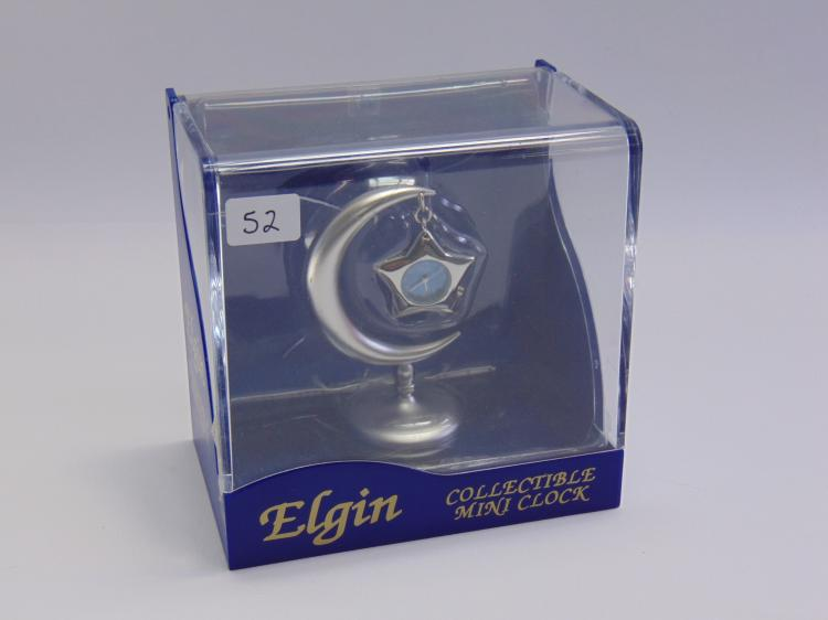 Elgin Collectible Moon and Star Mini Desk Clock New in Box
