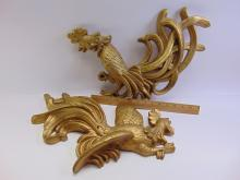 Lot 54: Pair of Golden Fighting Cocks Chalkware Running Rooster Wall Hangers
