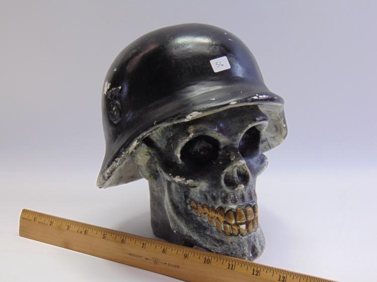 Lot 56: Nazi Helmet & Skull Mexican Made Chalkware Sculpture