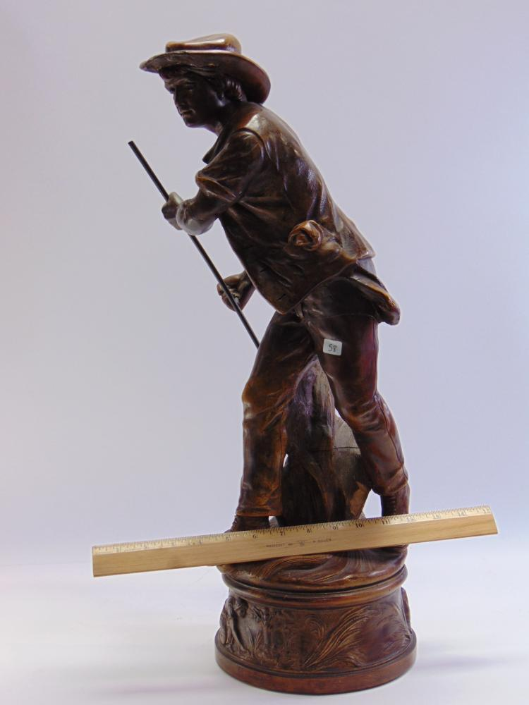 Lot 58: Large Cast Resin Agricultural Sculpture of a Man Scything