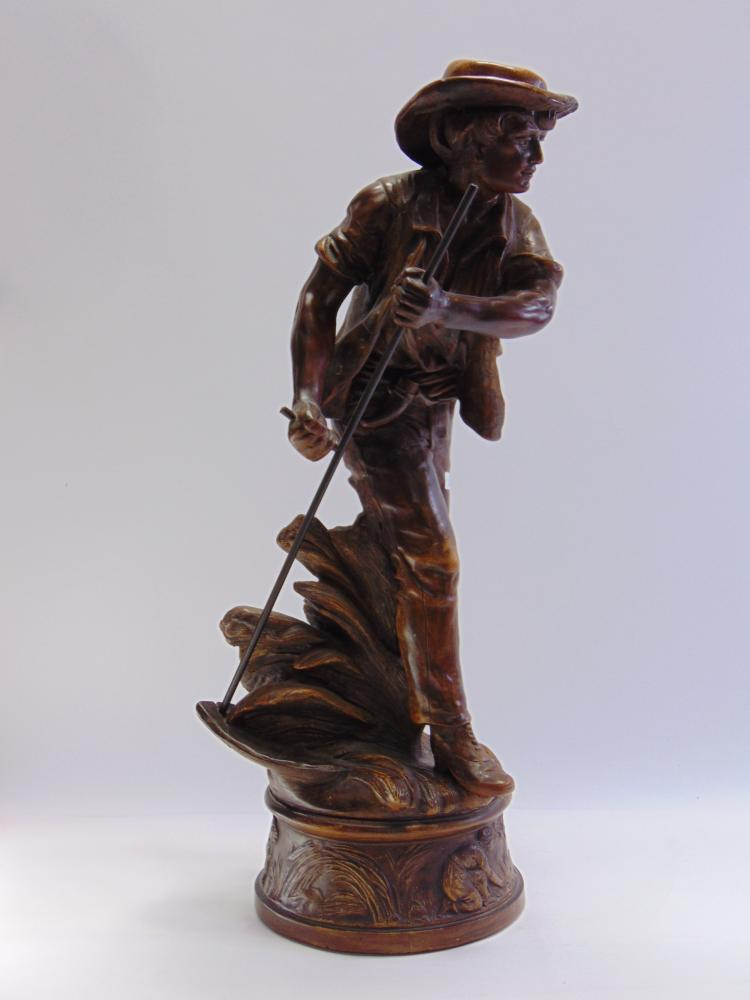 Large Cast Resin Agricultural Sculpture of a Man Scything
