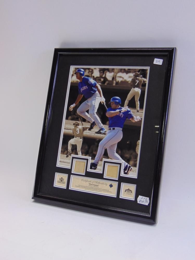 "Upper Deck Framed ""Rod-Squad"" Alex & Ivan Rodriguez Game Used Baseball Bat Chips"