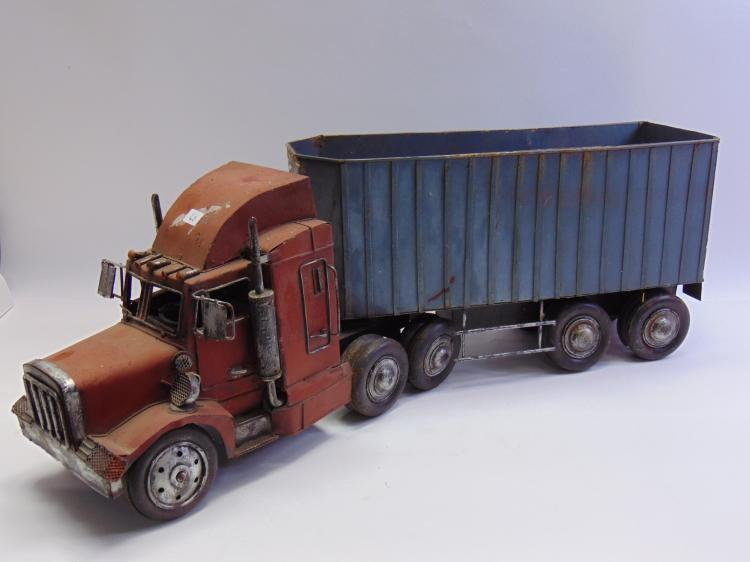Large Tractor Trailer Metal Truck Sculpture Décor Piece
