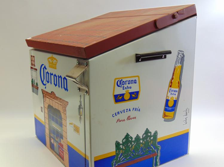 Lot 63: Vintage Corona Cantina Metal Beer Cooler with Bottle Opener
