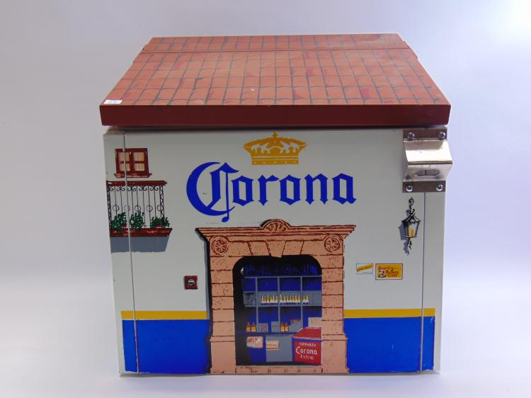 Vintage Corona Cantina Metal Beer Cooler with Bottle Opener