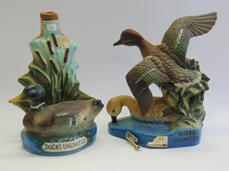 Vintage Lot of 2 Jim Beam Ducks Unlimited Decanters