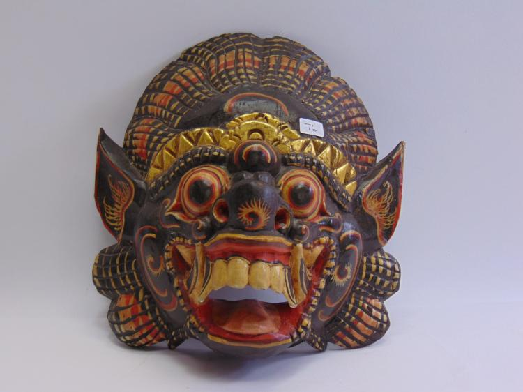 Carved Wood and Hand Painted Balinese Barong Mask
